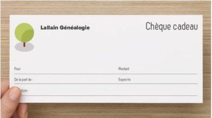 Présentation de la carte cadeau de Lallain Généalogie